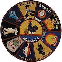 Safavieh Hand-hooked Vintage Poster Wool Rug (5'6 Round) - 5'6 Round