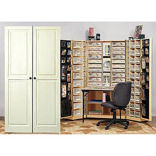 Shop raised panel vanilla scrap box armoire free shipping today 3907037 - Meuble rangement scrapbooking ...