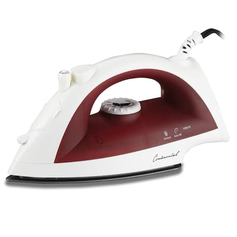 Continental Electric 3-Way Auto Shut-Off Iron Non-Stick Plate Red