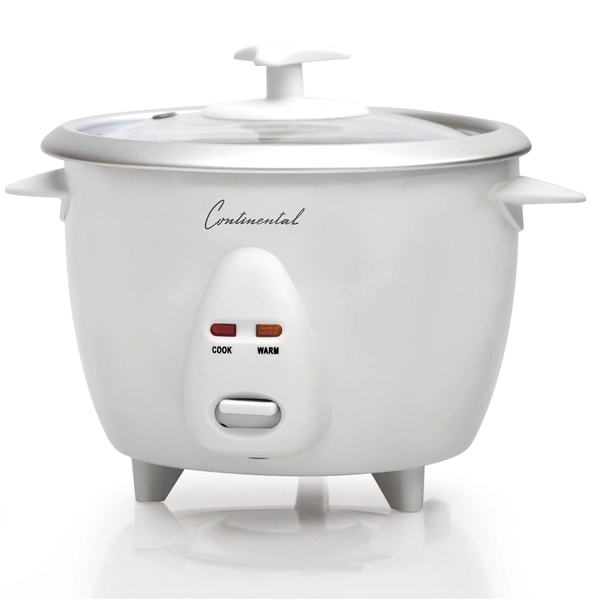 Continental Electric 6-Cup Rice Cooker Glass Lid White