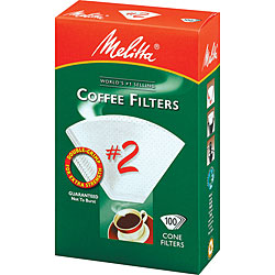 Melitta 622712 #2 Paper White Cone Coffee Filters- 100 Count