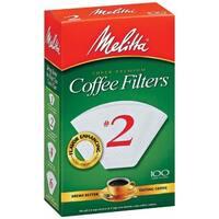 Melitta 622712 #2 Paper White Cone Coffee Filters- 100 Count