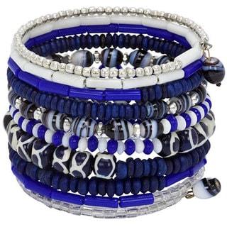 Bone Ten Turn Bright Blue Bracelet (India)