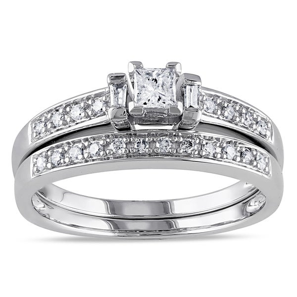 Miadora 14k White Gold 1/3ct TDW Princess Diamond Bridal Set