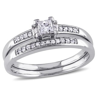 Miadora 14k White Gold 1/3ct TDW Princess Diamond Bridal Set (G-H, I1-I2) (More options available)