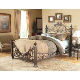 Fashion Bed Group Baroque Metal Bed in Gilded Slate Finish
