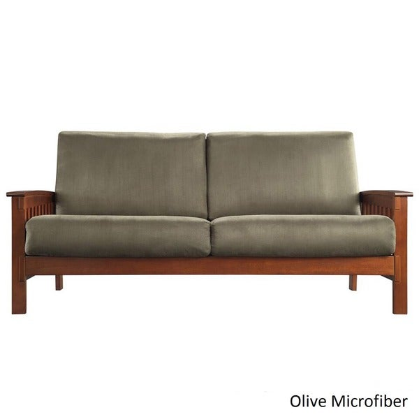 Exceptional Hills Mission Style Oak Sofa By INSPIRE Q Classic   Free Shipping Today    Overstock.com   11947580