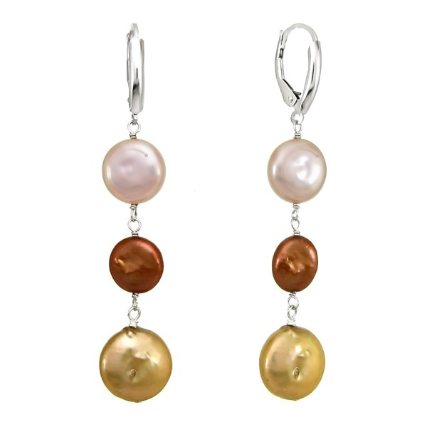DaVonna Sterling Silver Brown Pink and Gold Coin Pearl Drop Dangle Earrings (9-13 mm)