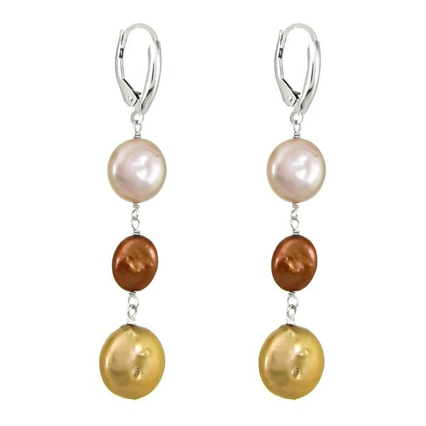 New 12-13MM White Black Pink Coin Freshwater Cultured Pearl Drop Dangle Earrings