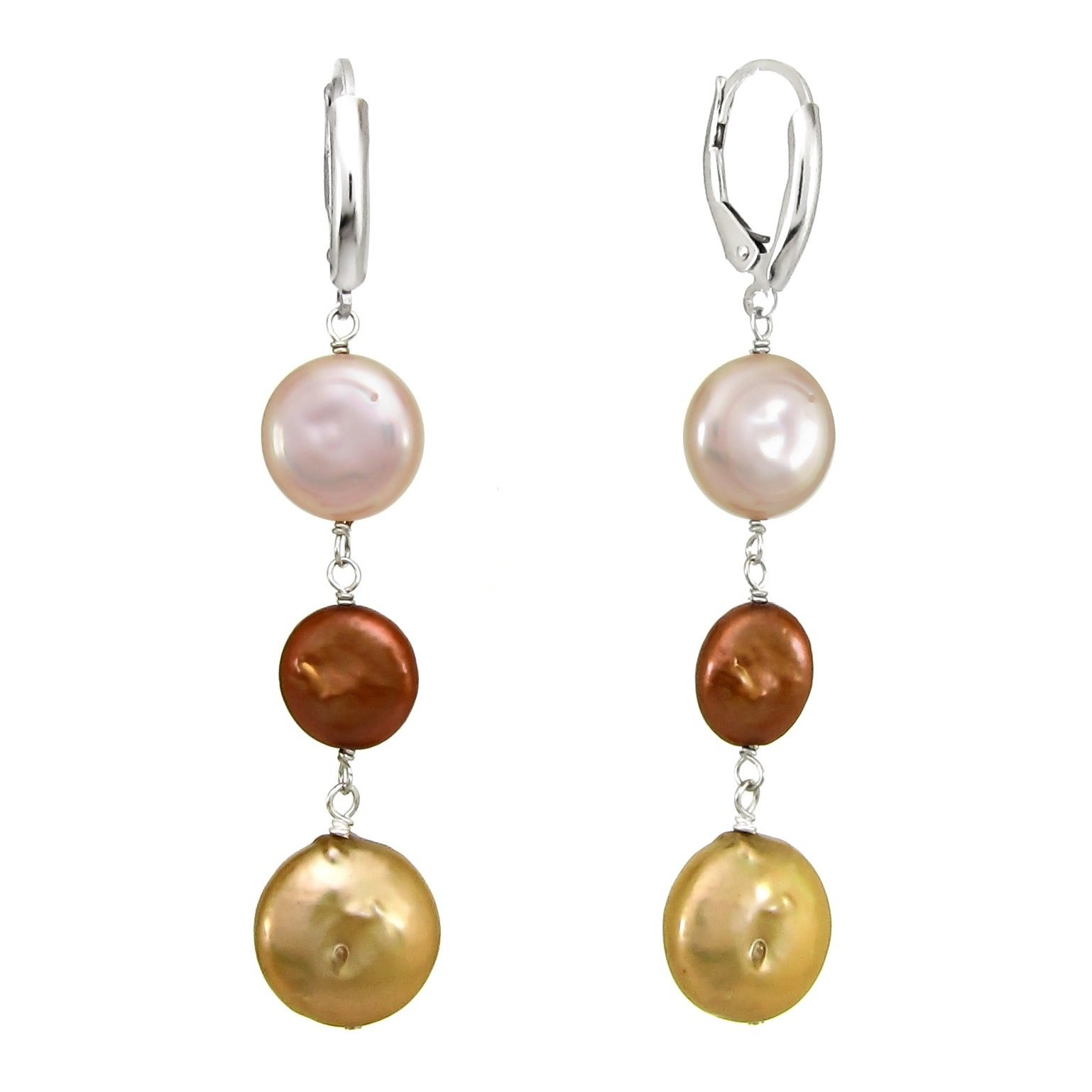 DaVonna Sterling Silver Brown Pink and Gold Coin Pearl Dr...