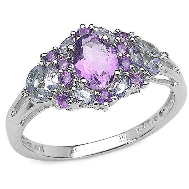 Malaika Sterling Silver Amethyst and Tanzanite Ring