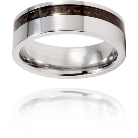 Men's Titanium Flat Off-center Black Carbon Fiber Inlay Ring (7.5 mm)