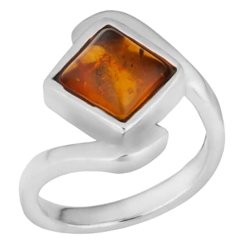Handmade Sterling Silver Baltic Amber Crossover Ring (Thailand)