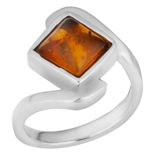 Handmade Sterling Silver Baltic Amber Crossover Ring (Thailand). Opens flyout.