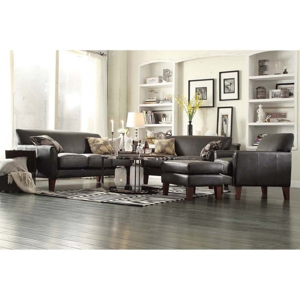 Tribecca home uptown dark brown faux leather 4 piece for 4 piece living room set