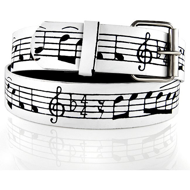 Iced Out Gear Men's Black Music Notes Leather Belt