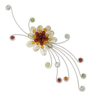 Citrine Carnelian Peridot 'Dream Flower' Brooch (Thailand)