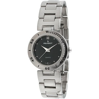 Peugeot Women's Silvertone Black Dial Watch