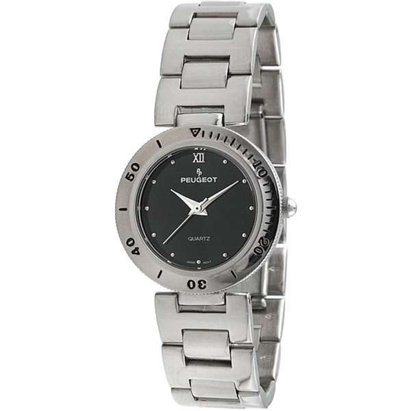 Peugeot Women's Silvertone Black Dial Watch