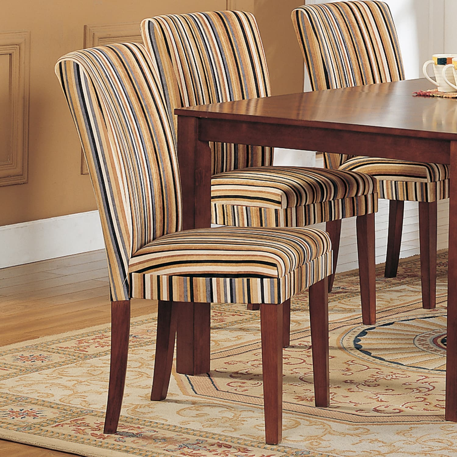 Tribecca Home Parson Striped Upholstered Dining Chairs Set Of 2 Overstock 3912577