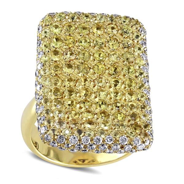 Miadora Signature Collection 18k Gold 1 4/5ct TDW Diamond Yellow Sapphire Ring (I-J, I2-I3)