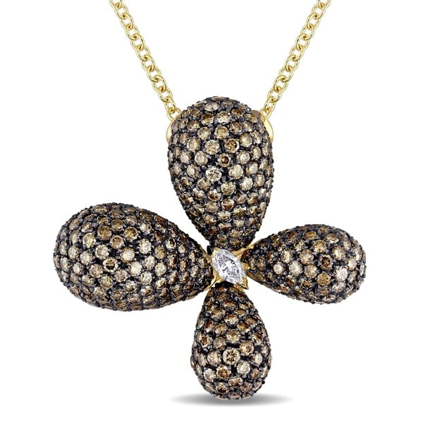 Miadora Signature Collection 18k Gold 9ct TDW Brown and White Diamond Flower Necklace