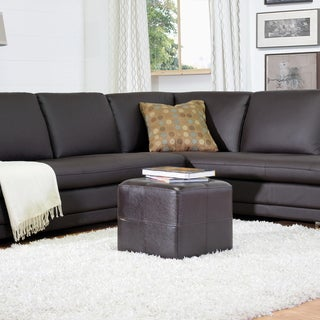 Baxton Studio Ashton Dark Brown Faux Leather Cube Ottoman