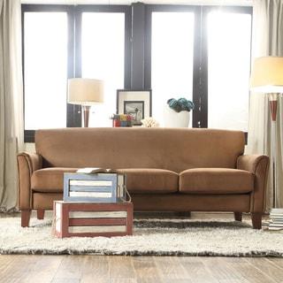 TRIBECCA HOME Uptown Mocha Microfiber Suede Modern Sofa
