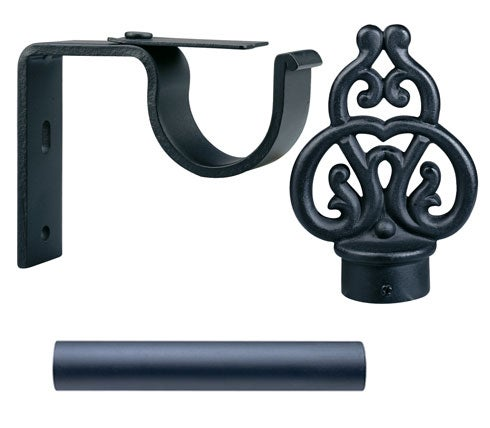 Black Scroll Finial 6-foot Iron Drapery Rod Set