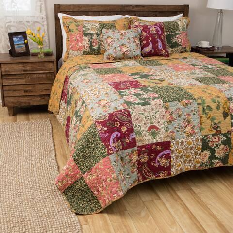 Greenland Home Antique Chic 5-piece Oversized Reversible Cotton Quilt Set