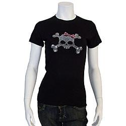 Los Angeles Pop Art Women's Rhinestone Skull T-shirt - Thumbnail 0