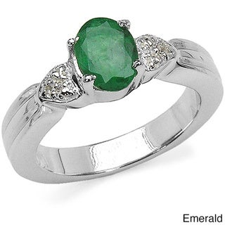 Malaika Sterling Silver Emerald or Ruby and White Topaz Ring