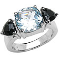 Malaika Sterling Silver Blue Topaz and Black Sapphire Ring (Size 7)