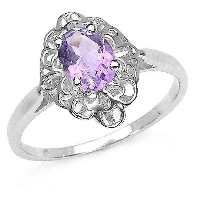 Malaika Sterling Silver Amethyst Ribbon Ring (Size 7)