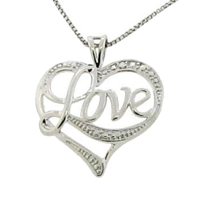 Love Silvers: Sterling Silver 'Love' Heart Necklace
