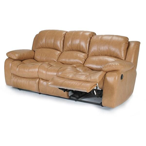 Imperia Reclining Camel Premium Italian Leather Sofa