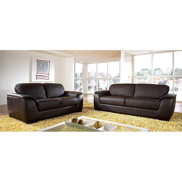 Monaco Dark Brown Premium Italian Leather Sofa And Loveseat