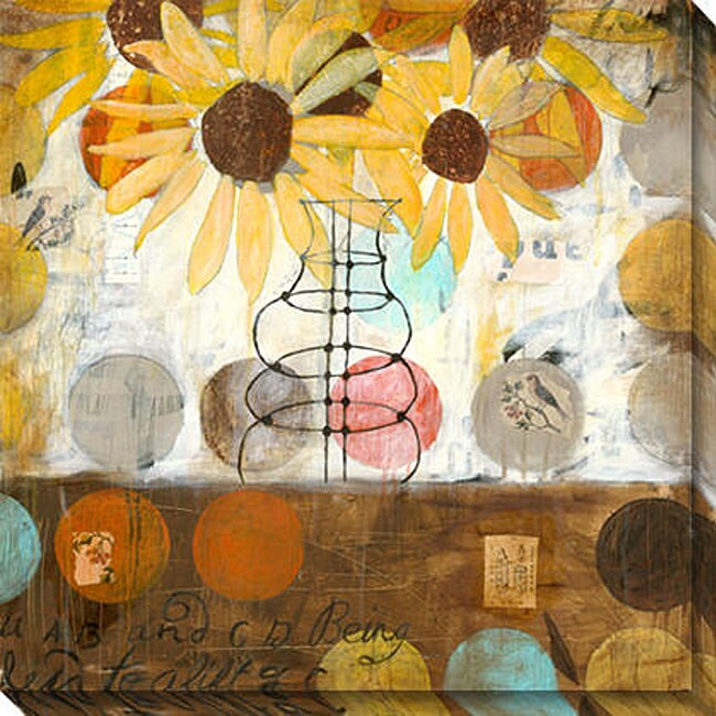 Gallery Direct Judy Paul 'Flowers & Circles I' Oversized Canvas Art