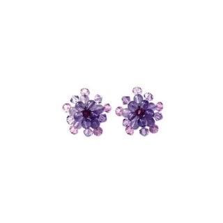 Handmade Amethyst 'Lilac Star Blossom' Earrings (Thailand)