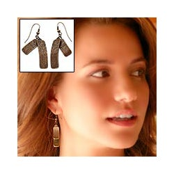 Handmade Dangle 'Bronze Goddess' Earrings (Peru)