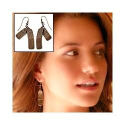 Handmade Bronze Goddess Dangle Earrings (Peru)