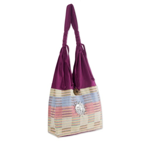 Handmade Siamese Blush Fuchsia with Pastel Checkerboard Cotton Zip Pocket Button Closure Womens Hobo Shoulder Bag (Thailand)