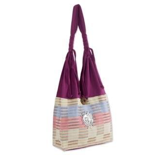 Siamese Blush Fuchsia with Pastel Checkerboard 100-percent Cotton Zip Pocket Button Closure Womens Hobo Shoulder Bag (Thailand)|https://ak1.ostkcdn.com/images/products/3916045/P11957605.jpg?impolicy=medium