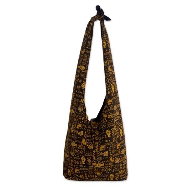 Hieroglyphs Dark Yellow Gold Batik on Brown Lined 100% Cotton Inner Pocket Adjustable Strap Womens Hobo Shoulder Bag (Thailand)