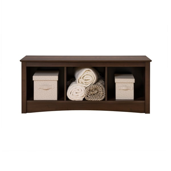 Everett Espresso Cubbie Storage Bench