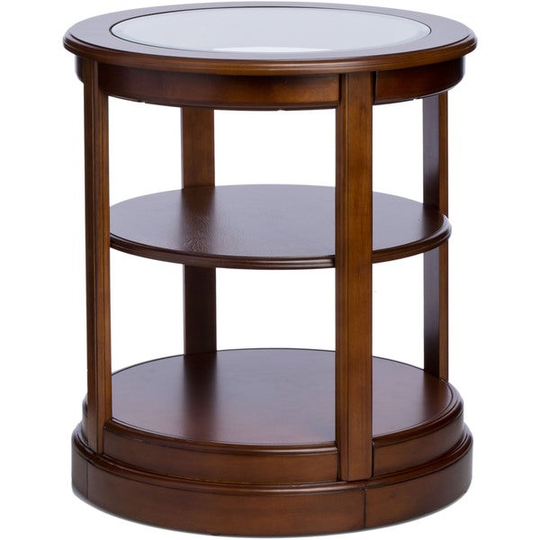 Round Wooden End Table With Glass Top   Free Shipping Today   Overstock.com    11956712