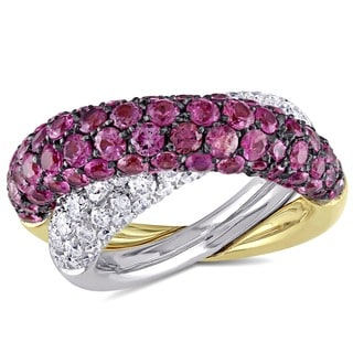 Miadora Signature Collection 18k Gold 1 7/8ct TDW Diamond/ Pink Sapphire Ring (G-H-I, SI) (Size 7)