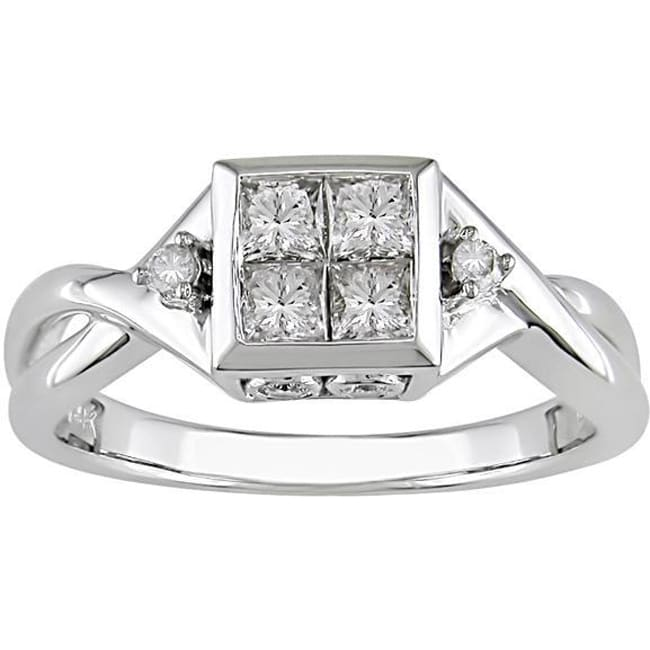 14k White Gold 1/2ct TDW Round and Princess Diamond Ring