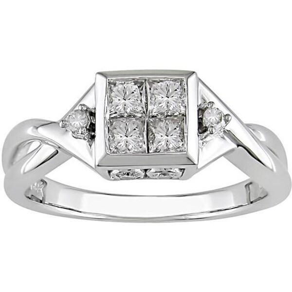 14k White Gold 1/2ct TDW Round and Princess Diamond Ring