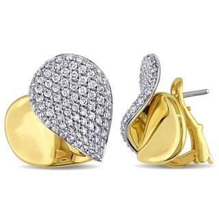 Miadora Signature Collection 18k Gold 1 1/10ct TDW Diamond Heart Earrings